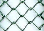 Stadium Green Chain Link Mesh Fence PVC Coated Fabric With Flat Surface