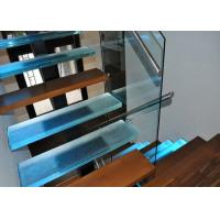 China LED Light Tread Square Steel Beam Straight Stairs Glass Deck Railing Staircase on sale