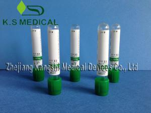 China Green Cap Vacuum Blood Collection Tube , Heparin Blood Test Tube on sale