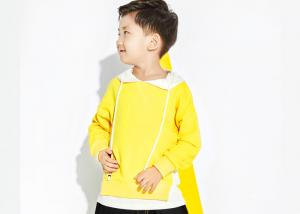 China Yellow Fake Two Pieces Boys Fall Sweaters , Cute Little Boy Clothes With Hood on sale