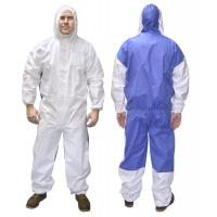 Cat 3 Type 5/6 Microporous Combines SMS Disposable Coverall Suit Asbestos Hooded Coverall