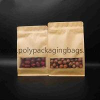 China Kraft paper composite zipper bag with frosted window in front on sale