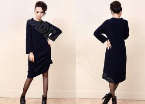 China Suéteres largos para mujer de punto celulares negros de M con el cuello barco para el invierno/el otoño supplier