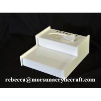 China Desktop White Perspex Tissue Box, Acrylic Hotel Supplies on sale