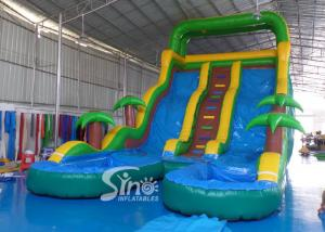 25' high tropical double lane inflatable water slide with