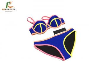 China Polyester Custom Printed Clothing / Elastance Dye Sublimation Dry Fit Colorful Womens Bikini Sets on sale