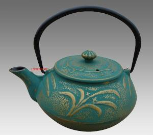 China Green Dragonfly Pattern Cast Iron Teapot Set in China with Four 150ml Tea Cups on sale