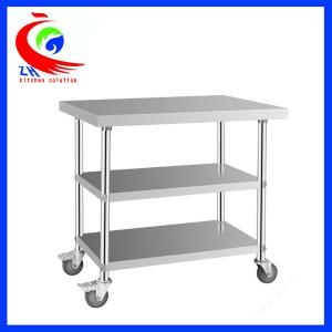 Detachable 3 Layer Stainless Steel Work Table With Casters Trolley