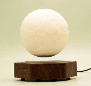 China new hexagon wooden magnetic floating levitate moon ball lamp night lighting on sale