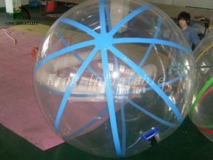 China 1.0mm PVC Transparent Walk On Water Inflatable Ball With Blue Strings on sale