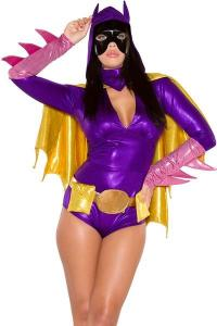 China Hero Costumes Wholesale Polyester Purple Pink Yellow Bat Chick Superhero Costume with size S to XXL on sale