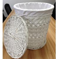 China Wood chip D/String with Lining-White laundry or storage basket on sale