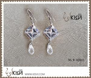 China 2012 hot selling 925 sterling silver gemstone earrings with Zircon W-AS925 on sale
