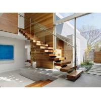Timber Wooden Modern Glass Staircase Railing Wire Banister Indoor Decoration