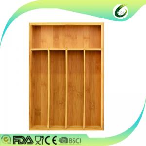 China Durable Bamboo Drawer Organizer Expandable Natural Colour For Utensils Cutlery on sale