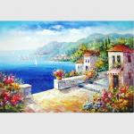 Hand - painted Impressionism Mediterranean Oil Painting Vacation Harbor