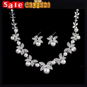 China Silver Rhinestone Pearl Animal Classic Bride's Butterfly Flower Stud Earrings Necklace Set on sale