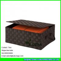 LDKZ-022 popular brown strap woven basket double woven storage box with hinged lid