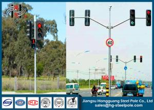 China Q235 Conical / Round / Polygonal Double Arms Traffic Light Pole For Railway Crossing on sale