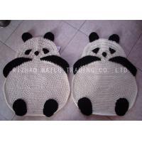 Handmade Panda Shape Crochet Floor Rug / Black And White Crochet Baby Play Mat