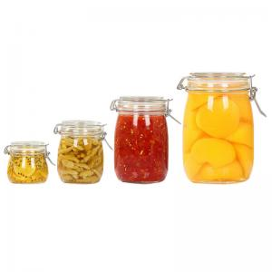 China Transparent Empty Glass Jam Jar Airtight Easy To Wash Thick Material Round Shape on sale