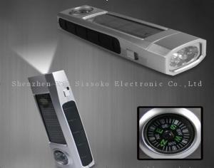 China OEM logo rechargeable 600mAh 5LED plastic solar powered led flashlight / torch on sale