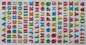 China Flexible Puffy Alphabet Stickers Cute Glitter PVC 3D Foam on sale