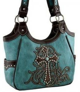 China Cross Turquoise and black flower Western Cowgirl shoulder bag handbag Purse on sale