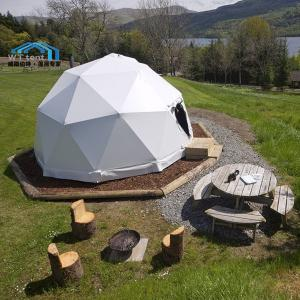 China 360 Degree Small Geodesic Dome Glamping Tent Glass Door System on sale