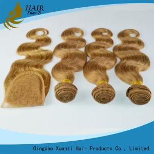 Quality 自然な赤ん坊の毛を搭載する焦茶の人間の毛髪の上の閉鎖もつれを取除かないこと for sale