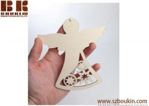 China Unfinished Wood Laser Cut Angel Ornament Christmas Decoration on sale