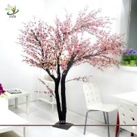 China UVG Indoor artificial peach blossom tree with pink flowers for restaurant decoration on sale