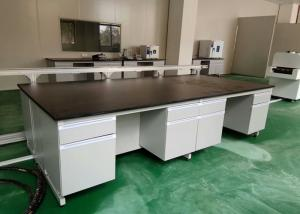 China White Wood Lab Workbench Furniture With Steel Frame For High School / Hospital on sale