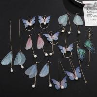 Beautiful butterfly charms brass silver plated  drop&dangle earring jewerly