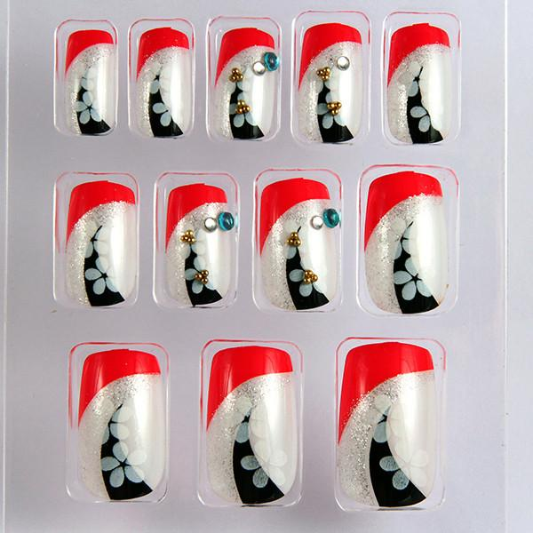 Japanese Pretty French Manicure Fake Nails Flower 3D Nail Cover For ...