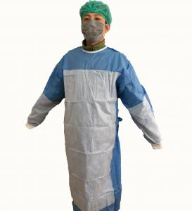 China Disposable Reinforced  Sterile nonwovent Surgical Gown with knif cuff ,tie waist .magic tape.with hang card on sale