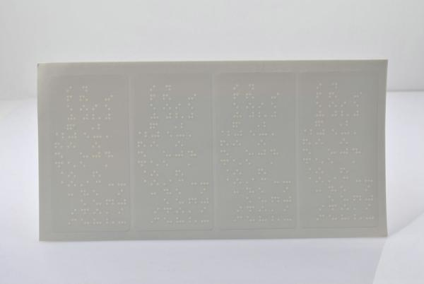 ROHS PVC / PET Removable Strong Adhesive Custom Transparent Label Braille  Stickers Images
