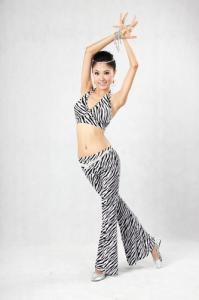 China Zebra Belly Dancing Attire Underwire Halter Bikini Top For Slender Girl on sale