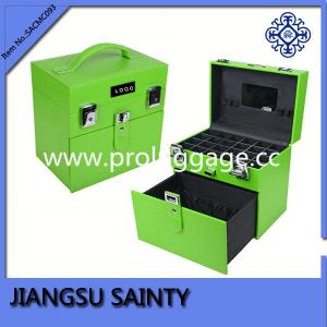 China Solid green pu nail polish organizer case on sale