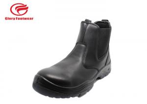 China Mining Breathable Mens Leather Slip On Work Shoes No Lace Double Density PU Sole on sale