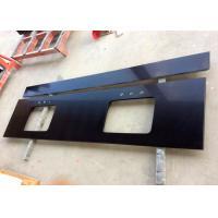 Pure Black Quartz Kitchen Countertops , Artificial Quartz Stone Tiles 3/4 Inch Thick