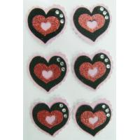 China Custom Heart Shaped Stickers Pink Glitter For Valentines Day on sale
