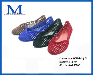 China Lady PVC flat women popular hollow shoes ASM-258 on sale