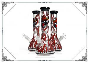 China Beaker Tobacco Recycling Hookah Tube With Red Spray Dragon On Glass on sale