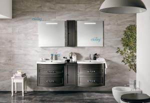 China Home Decor Grey Double Sink Vanity , Two Sink Vanity With A Small Side Cabinet on sale