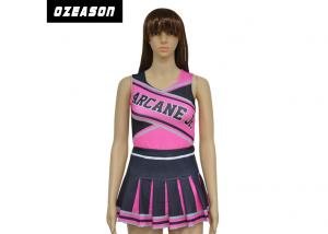 China Custom Made Dance Costumes Pink And Black Cheerleading Uniforms For Adult And Kids on sale
