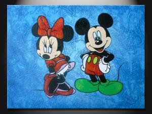 Eth120 Beautiful Mickey Mouse Cartoon Wall Paint Handmade Oil