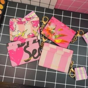 China Victoria's Secret ID Card Holder Credit Card Coin Purse leather designer pink Wallet on sale