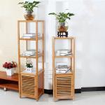 4 Tier Bamboo Bathroom Shelf , Wooden Bath Rack For Exhibition Room / Flower Shop