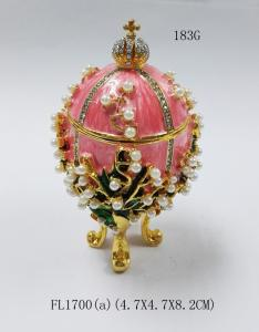 quality easter egg russian faberge egg jewelry trinket ring box decor metal crafts for sale - Christmas Ornament Ring Box